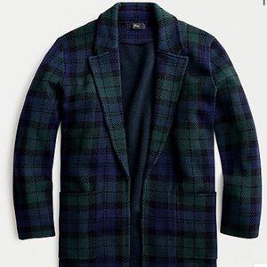 J. Crew Plaid Sophie Open Front Sweater Blazer
